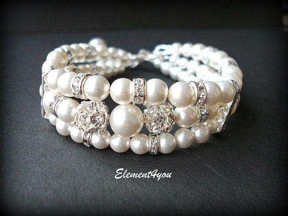 Bridal cuff bracelet Swarovski white or ivory pearls Three stranded Bridal jewellery Wedding Maid of honor gift Multistrands Rhinestone ball
