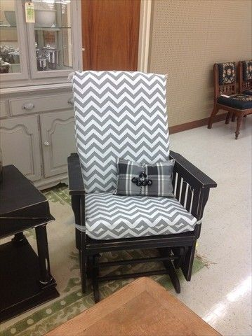 glider rocker covered with chevron fabric in gray and white 141 - Glider Rockers