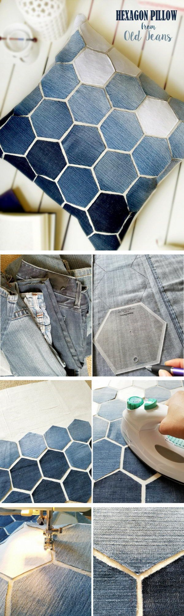with leather, using quilting templates!!!! Jean Hexagon Pillow.