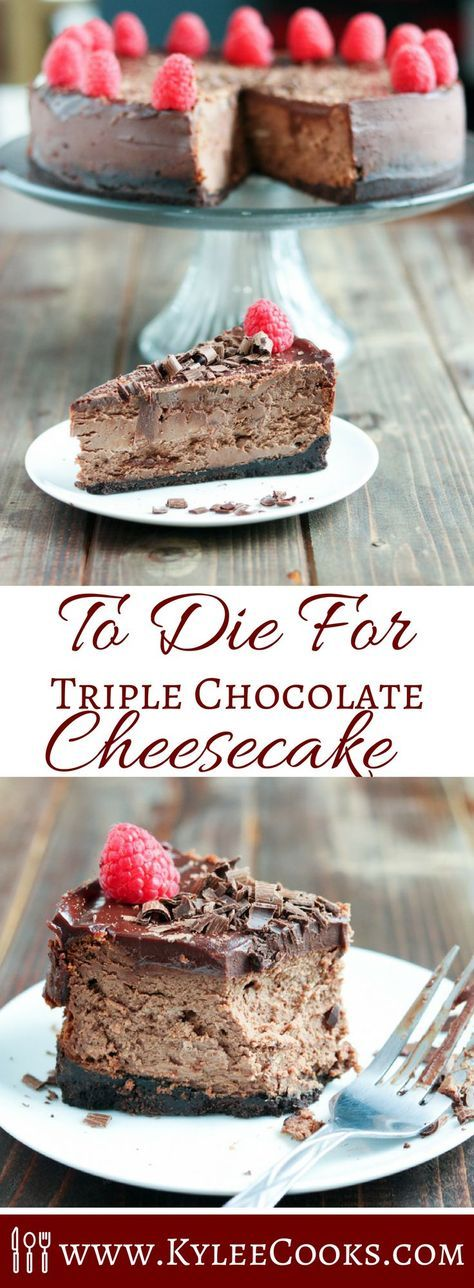 A rich, decadent and full of chocolate dessert (the best kind!), this triple chocolate cheesecake is to die for. Seriously, just go make this immediately.