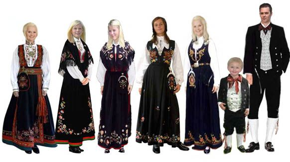 """""""Bunad"""" is a common naming for many kinds of costumes for special occasions in Norway. For the first it is used about the traditional folks costumes (folkedrakter), and secondly about the modernised folks costumes that were """"created"""" in the 20. century. """"Bunads"""" in Norway are mostly used at national occation first and foremost at the Constitution Day, and weddings and in wholy times. It has embroderies in various patterns and colors"""