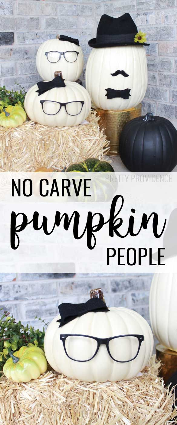 Cute, easy no carve pumpkin people! I love fall porch pumpkin ideas that don't require carving!