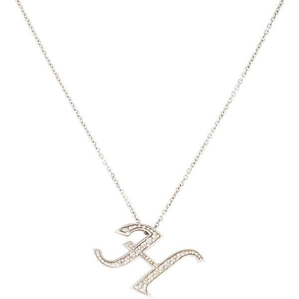 The 25 best diamond initial necklace ideas on pinterest pre owned kc designs diamond h initial pendant necklace 345 liked on aloadofball Images