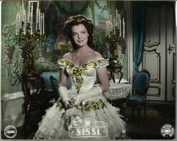 "Romy Schneider as Sissi (1, 1955) at the ""engagement"" ball. The ball gown is actually blue."