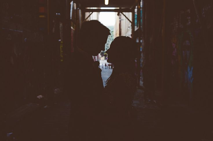 Silhouettes in a dark alley way in the heart of Melbourne CBD. #melbourneweddings #melbournebrides #mottaweddings #weddingportraits