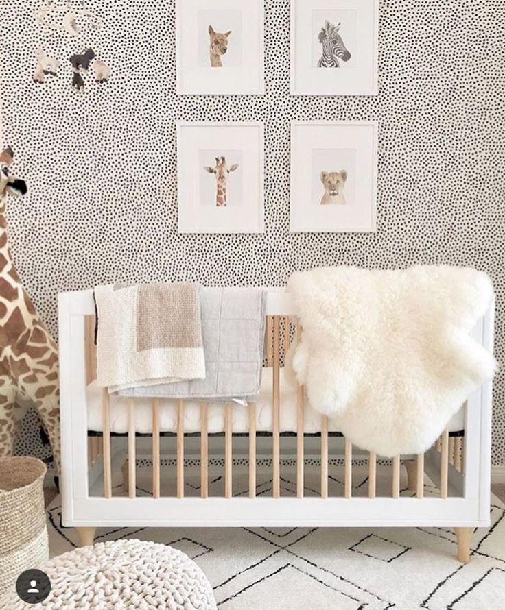 kids room decor. dots wallpaper black & white. nursery room.