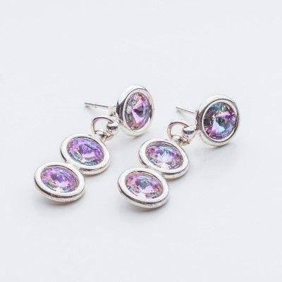 Swarovski Rivoli Earrings 6/6/6mm Vitrail Light  Dimensions: length: 3,2cm stone size: 6mm Weight ( silver) ~ 3,30g ( 1 pair ) Weight ( silver + stones) ~ 3,95g Metal : sterling silver ( AG-925) Stones: Swarovski Elements 1122 SS29 ( 6mm ) Colour: Vitrail Light 1 package = 1 pair  Price 9 EUR