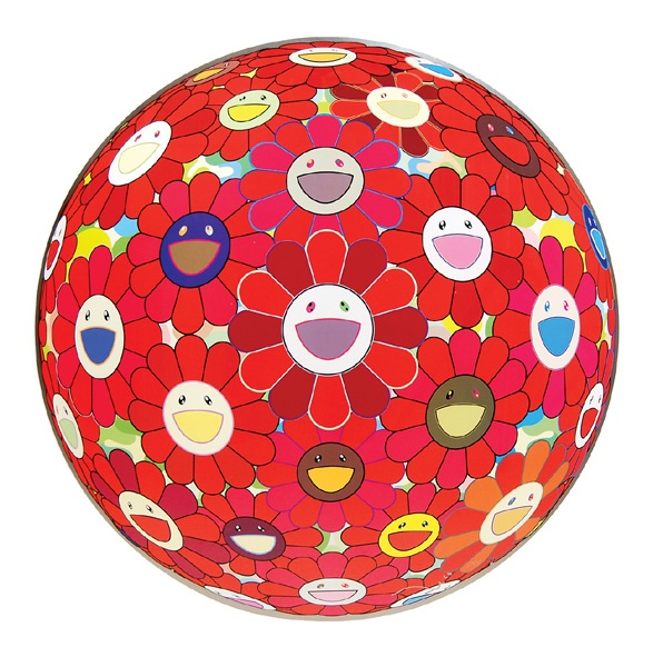 Red Cliff Flower Ball 3D. by MURAKAMI, Takashi. Edition of 300. Signed and numbered in pen lower right by Murakami.