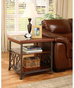 @Overstock - Enhance your home decor with this scrolled metal and wood end table Elegant accent table features detailed metal scrolls on long sides of table Sturdy table is supported by a fashionable metal frame and legshttp://www.overstock.com/Home-Garden/Scrolled-Metal-and-Wood-End-Table/2536113/product.html?CID=214117 $162.99