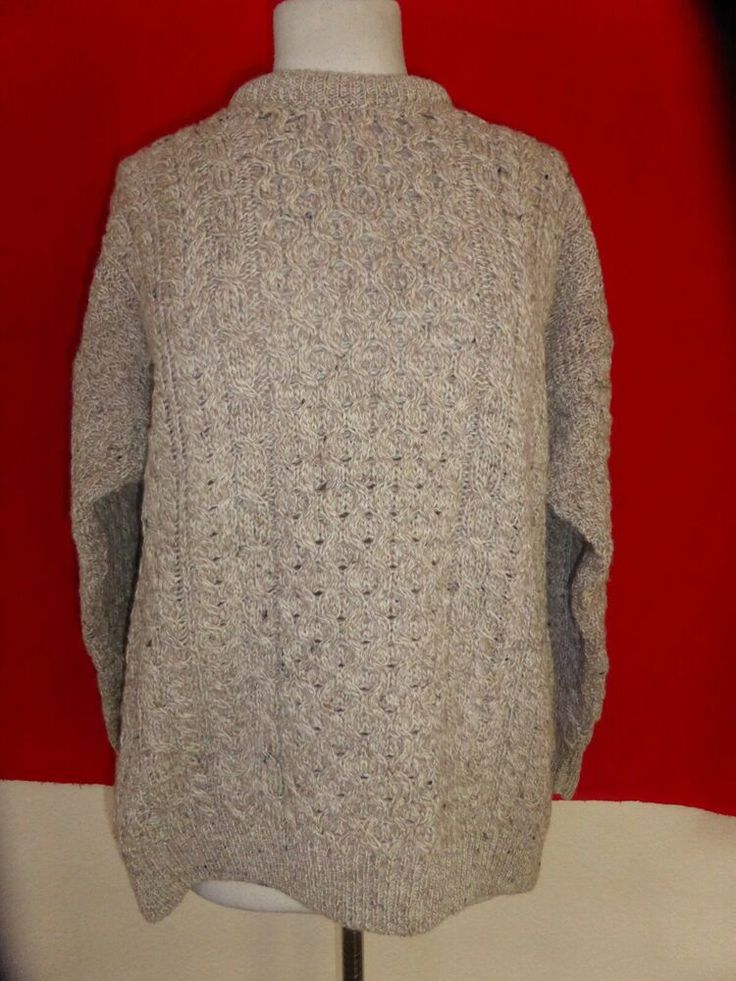 Carraig Donn Ireland Wool Fisherman Sweater Pullover Beige Womens M Medium #Carr…