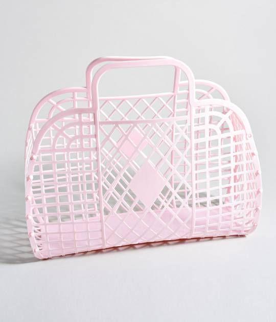Light Pink Retro Cutout Jelly Plastic Basket  | Unique Vintage
