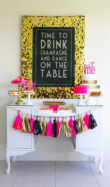 party spread - hot pink and gold