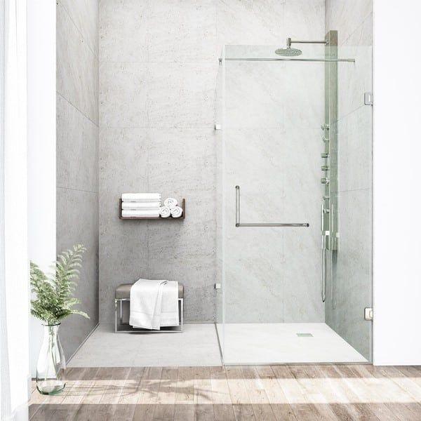 Vigo Frameless Clear Shower Enclosure 36 X 48 Chrome Grey In