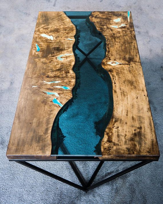 Live Edge River Coffee Table With Glowing Resin Stoliki