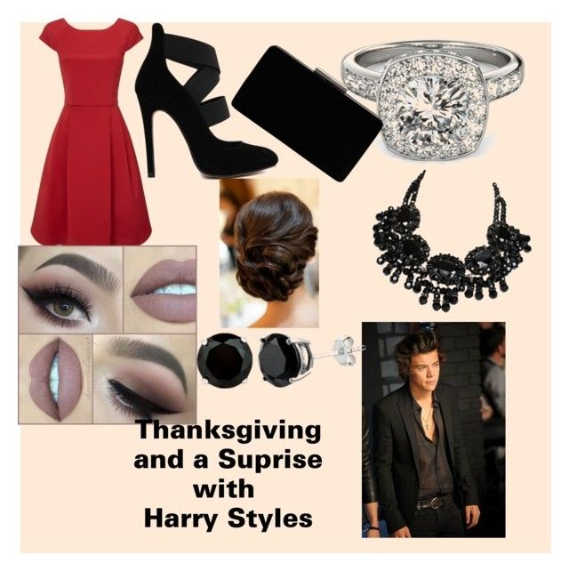 """""""thanksgiving and a surprise with harry styes"""" by javb-jb ❤ liked on Polyvore featuring Phase Eight, Allurez, Swarovski, John Lewis, women's clothing, women, female, woman, misses and juniors"""