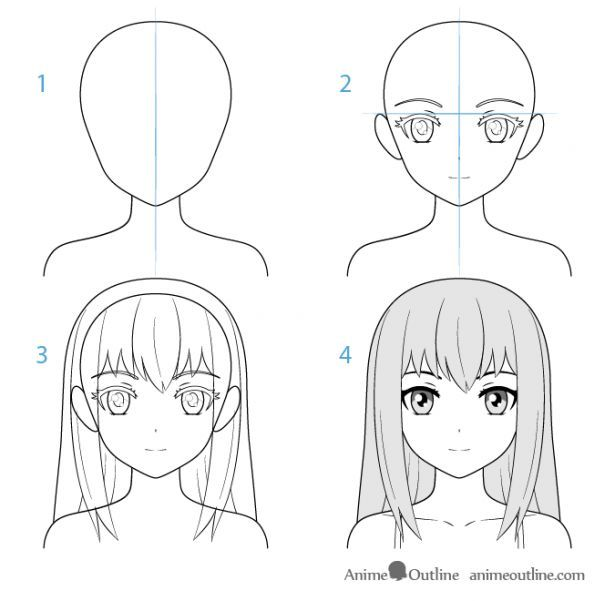 Female Anime Character Face Drawing Step By Step Drawingpeople Drawing People Face Drawing Drawing People Step By Step Drawing