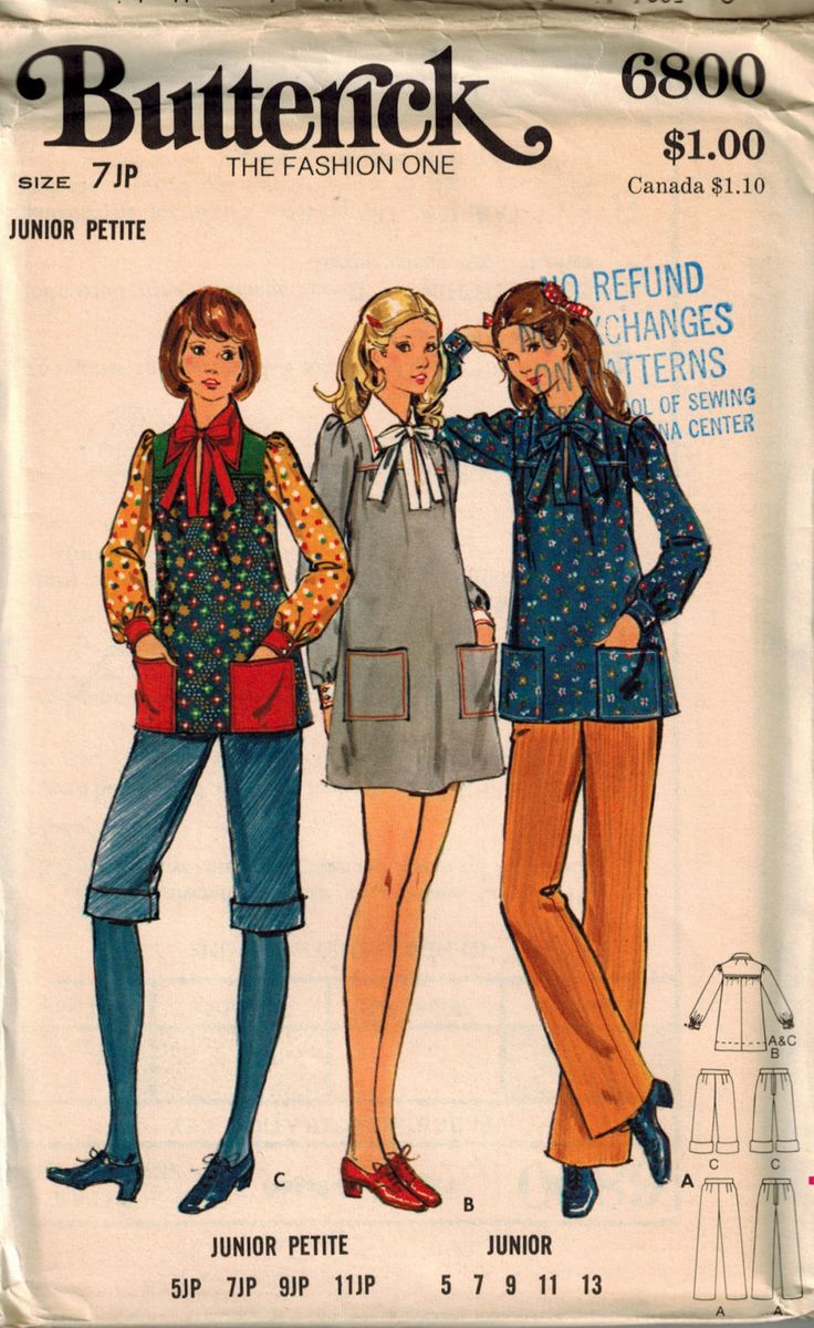 Vintage 70's Dress or Smock and Pants Sewing Pattern Butterick 6800 Size 7 Junior Petite Smock Top Short Dress Pointed Collar Patch Pockets by SuzisCornerBoutique on Etsy