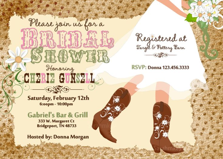 Western Bridal Shower Invitations | Cowboy Boot's Bridal Shower Printable Invitation by Sarahmkey