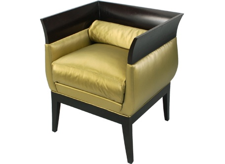 Cleo Lounge Chair Hollywood Regency Style W Empire Design Brushed Gold Faux Silk