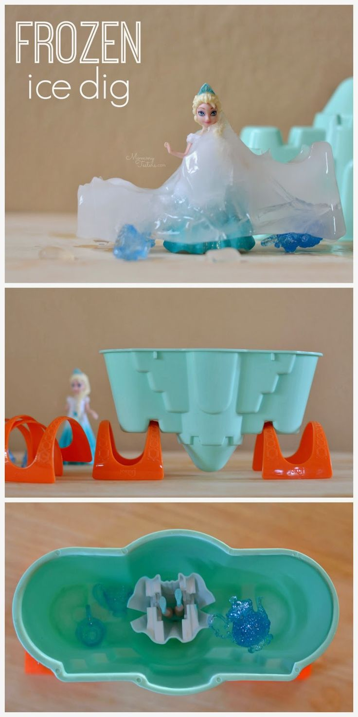 Perfect for a FROZEN party in the Spring or Summer!  Freeze Elsa and friends and let the kids dig them out and rescue them in this Disney FROZEN Ice Dig Kids Activity!