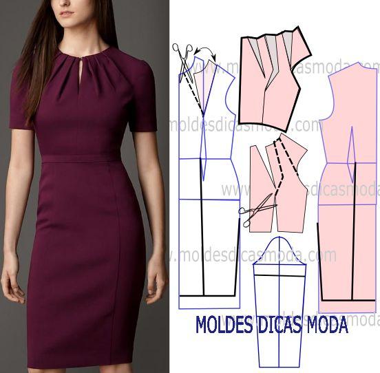 Antes de mais nada faça a analise de forma atenta do desenho da transformação do molde de vestido lilas para fazer a leitura de forma correta.