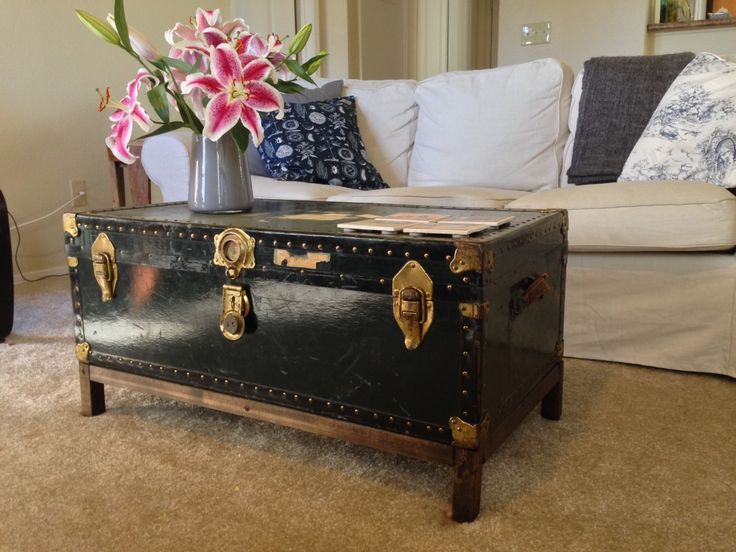 Diy Coffee Table From Antique Trunk