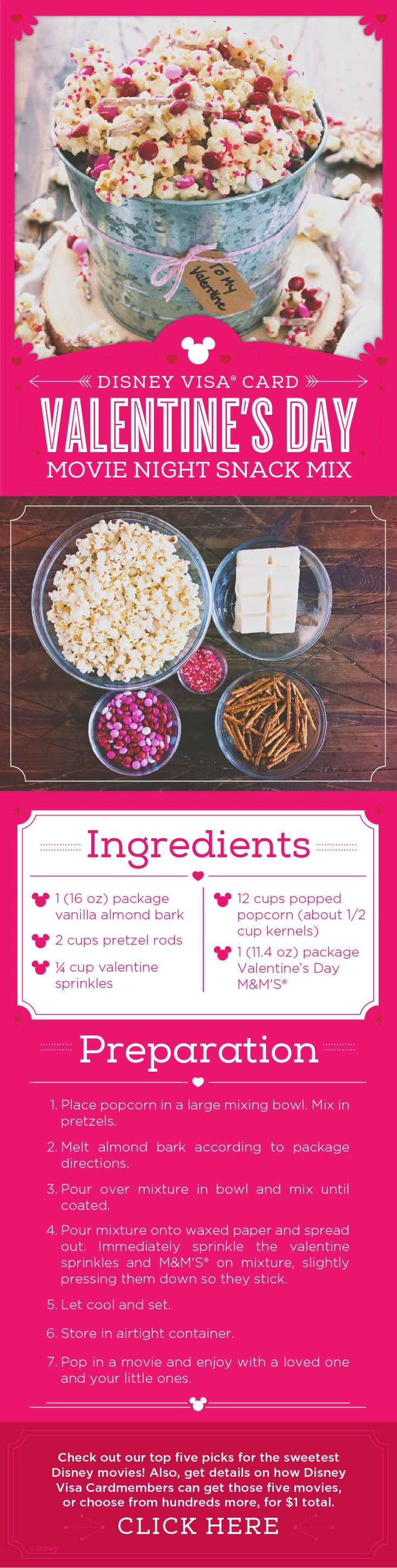 Whether it's Valentine's Day or any other day of the year, you can't go wrong with a family movie night! And nothing goes better with a Disney movie than pairing it with a homemade Valentine sweet. This popcorn recipe will prove to be so tasty your family will ask for it again and again. So settle in for family movie night and a gourmet bowl of popcorn!