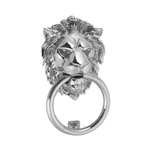 Door knocker lion head, Chromed, 115x90 mm (202709)