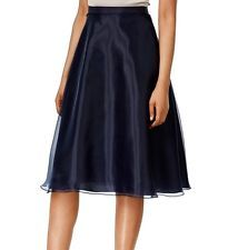 MSK NEW Solid Blue Navy Women's US Size XL Sheer Pleated A-Line Skirt $59 #386