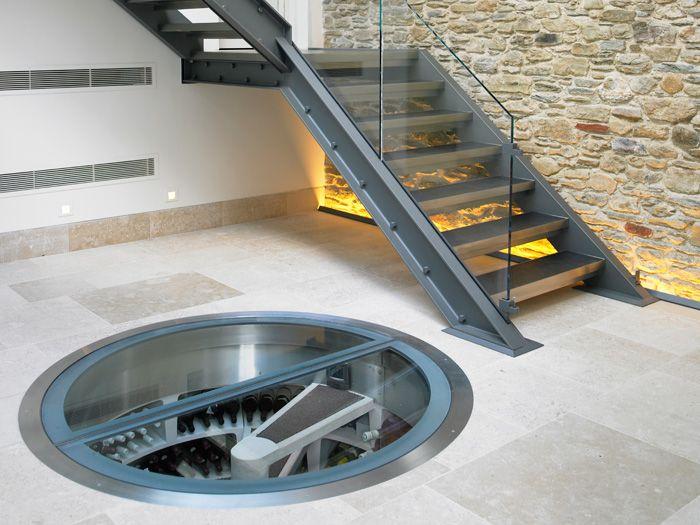 Spiral stair wine cellars: Cellar Storage, Wine Cellar, Spirals Cellar, Spirals Stairs, Interiors Design, Houses Ideas, Spirals Wine, Underground Spirals, Traps Doors