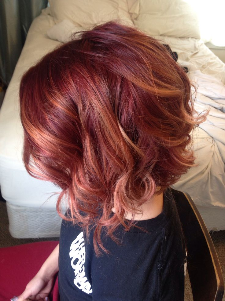 Red balayage ombre. joico 6rr inverted bob. I think I'd do an auburn instead of the rr with the copper. But I like more natural reds.