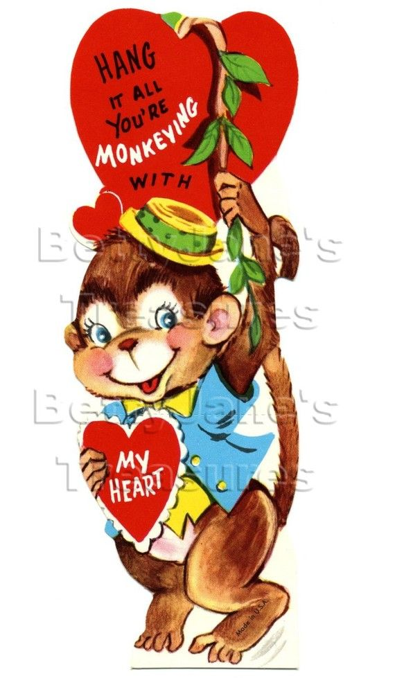 156 best images about Vintage valentine Cards Clowns Circus – Monkey Valentine Cards