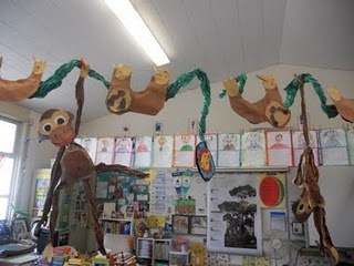 Who's at the zoo theme unit:  Great idea to display children's monkey and sloths art work during theme unit
