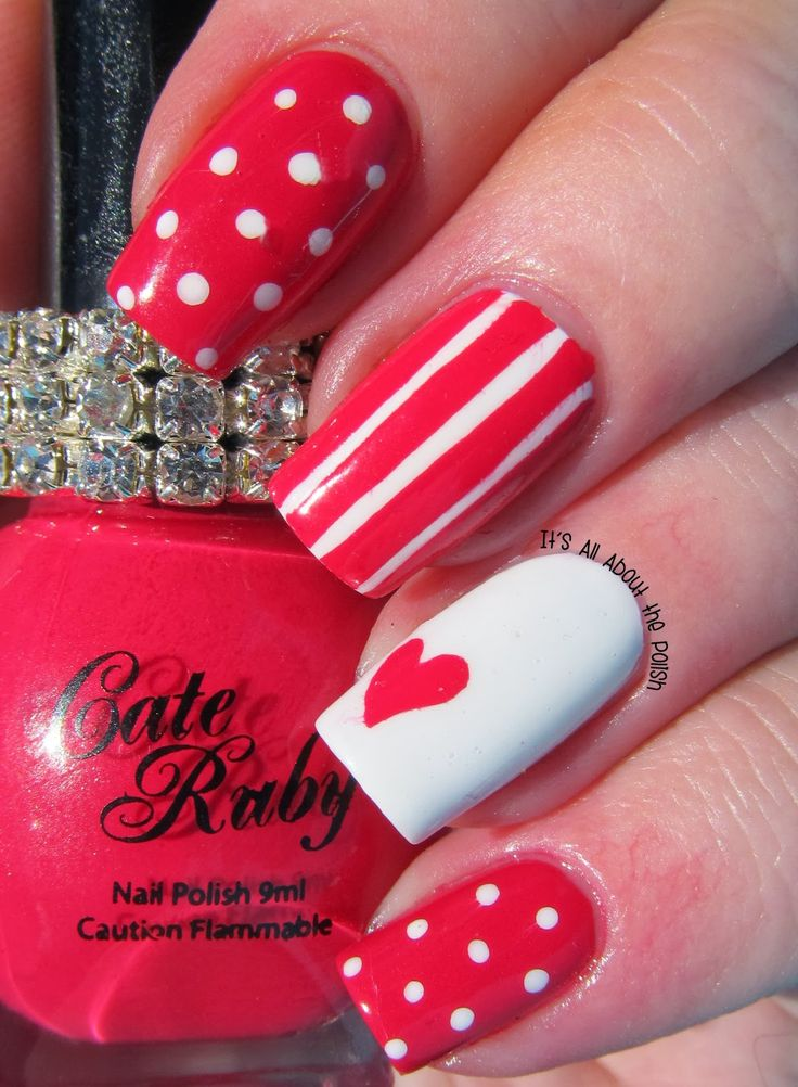 It's all about the polish: Cate Ruby Raspberry Sorbet Valentine's nail art