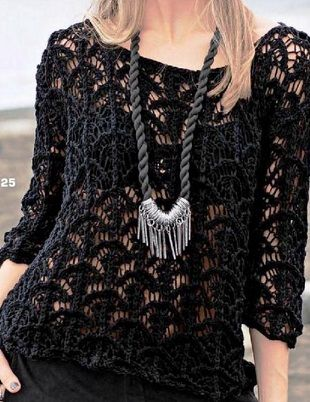 Черный пуловер спицами