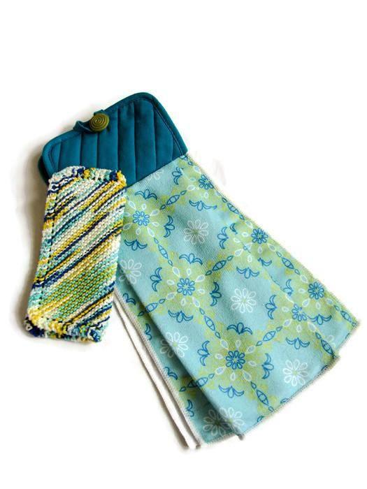 teal and aqua hanging towel and dishcloth set kitchen towel - Kitchen Towel Sets