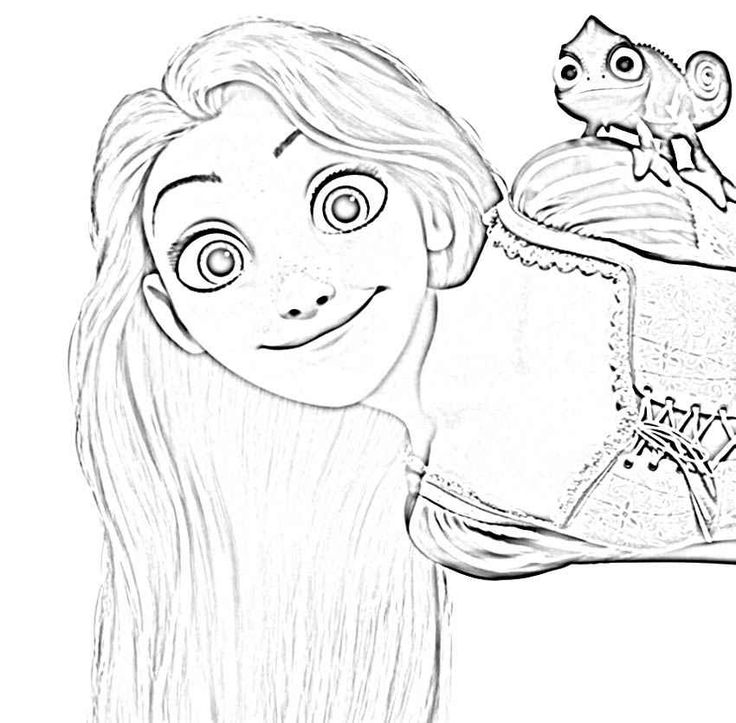 Happy Rapunzel Tangled Coloring Pages - Smile   Lugares ...