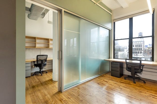 Small Office With Private Office And Window View Of Nyc Coworking Coworking Office Space Small Office