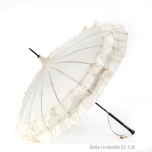 Umbrella ID 526 | White Pagoda With Double Ruffle Trim | Black Post Handle  | Bella