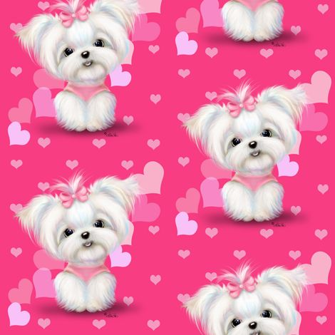Maltese Pink Hearts fabric by catiacho on Spoonflower - custom fabric