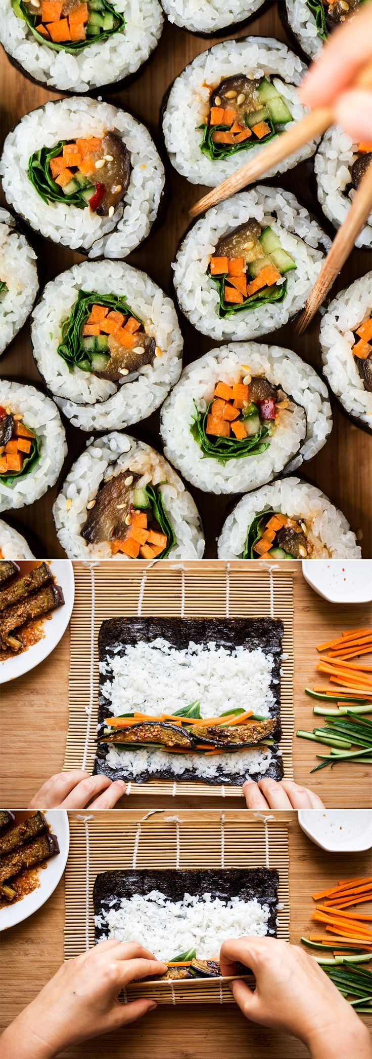 If you want to up your sushi game, try our sesame eggplant sushi. It tastes delicious and it's a great way to use up your eggplants. Vegan & gluten-free.