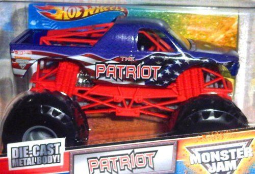 """2011 THE PATRIOT - 1:24 Scale (Large Version) Hot Wheels Monster Jam Truck with Monster Tires, Working Suspension and 4 Wheels Steering by Mattel. $25.98. 1:24 Scale (Dimension : 7"""" L x 5-1/2"""" W x 4-1/2"""" H). Realistic Details with Monster Tires,Working Suspension and 4 Wheel Steering. Die-Cast Metal a Body and Plastic Parts. Official Monster Jam Truck. Authentic, licensed Monster Jam trucks with power, attitude, excitement and action! These 1:24 Monster Jam trucks..."""