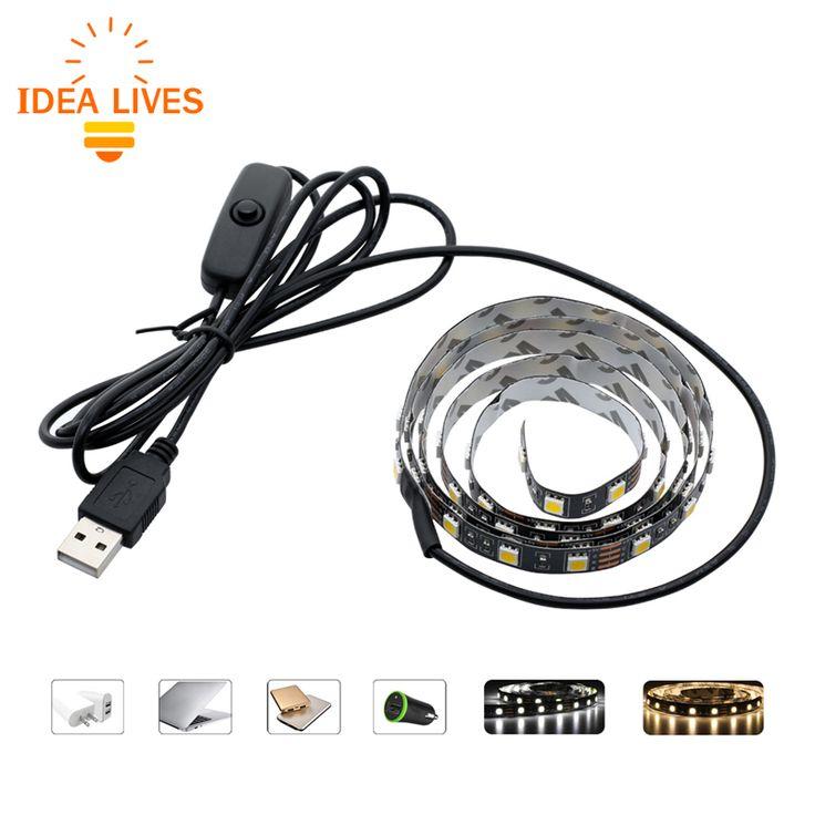 USB 5 V LED Strip 5050 TV Latar Belakang Pencahayaan 50 cm/1 m/2 m 60 LEDs/m Hangat Putih/Putih USB Kabel dengan Beralih Jalur set
