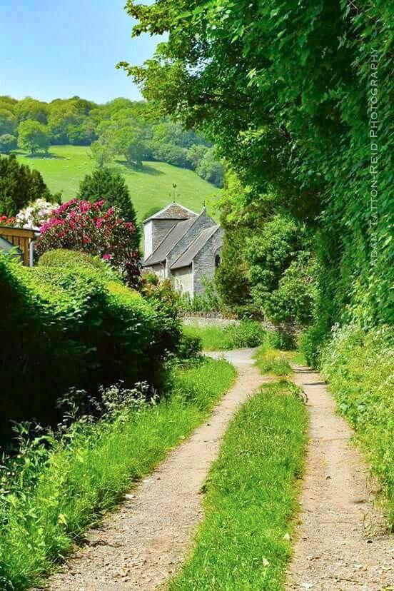 Rural lane: Llyswen Church in background (Wales) by Adam Tatton-Reid