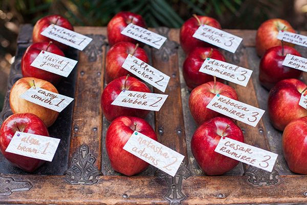 apple escort cards - photo by April Maura Photography http://ruffledblog.com/earthy-bohemian-wedding-inspiration