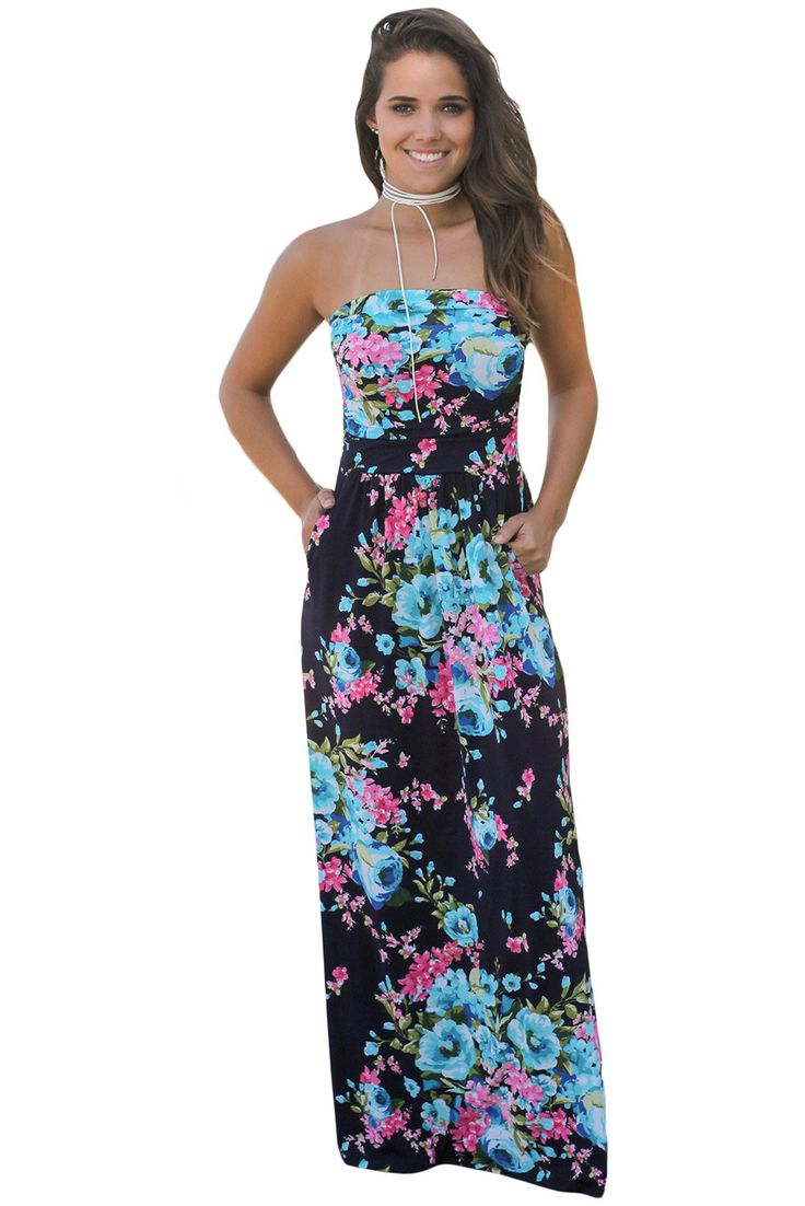 Chicloth Navy Pink Floral Strapless Maxi Dress with Pockets
