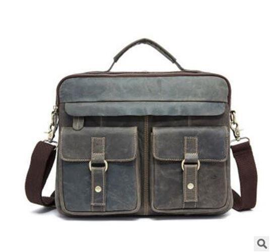 Men Vintage genuine leather messenger Bag Crossbody Shoulder Business Briefcase