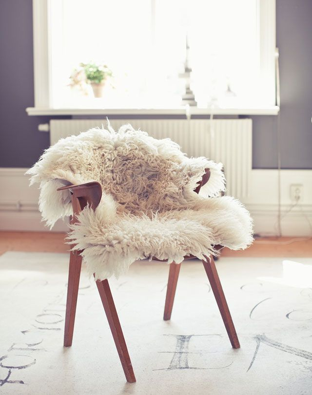 Chair with throw can easily be pulled into lounge & still be comfy