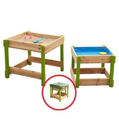 SUN Sand und Wasser Spieltisch-Set aus Holz natur-grün