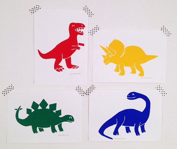 Dinosaur prints, nursery art or kids bedroom art. Handprinted Screenprints in Red, Yellow, Green and Blue by hello DODO shop on Etsy. Perfect for Jurassic World fans!